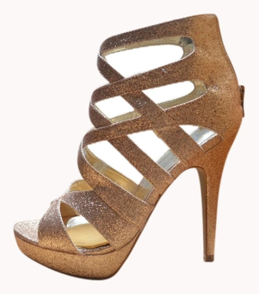 d66b2d6e391 Charlotte Russe Sparkly Gold Strappy Heels Glitter Pumps Size US 8 Regular  (M, B) 50% off retail