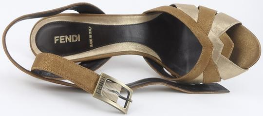 Fendi Leather Fashion Eur 40 Buckle Gold Metallic Sandals