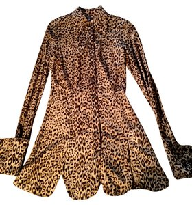 Jean 's Paul Gaultier Top Animal Print Black and Tan