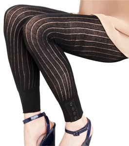 French Curve French Curve Ribbed Button Cuff Black Leggings - S/M