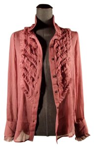 Free People Tuxedo Shirt Chiffon Top Raspberry