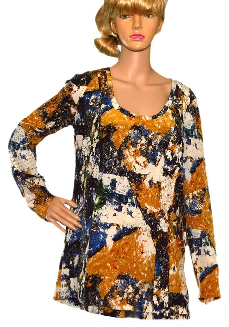 Preload https://item2.tradesy.com/images/tory-burch-gold-black-blue-white-blouse-size-6-s-993991-0-0.jpg?width=400&height=650