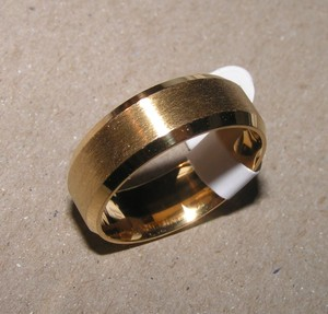 Men's Brushed Gold Stainless Steel Wedding Band Free Shipping
