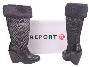 REPORT Signature Lindsey Quilted Leather Faux Fur Trim Wedge High Heel Winter Knee Tall Black Boots