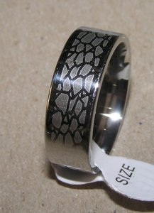 Unique Etched Wide Men's Wedding Band Free Shipping