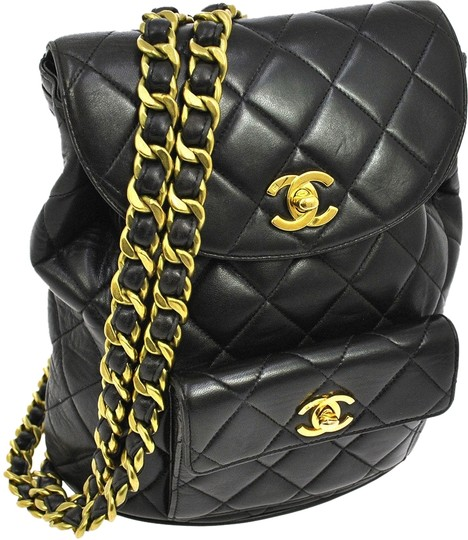 Preload https://item1.tradesy.com/images/chanel-backpack-quilted-cc-logos-black-gold-leather-vintage-france-backpack-9940780-0-1.jpg?width=440&height=440