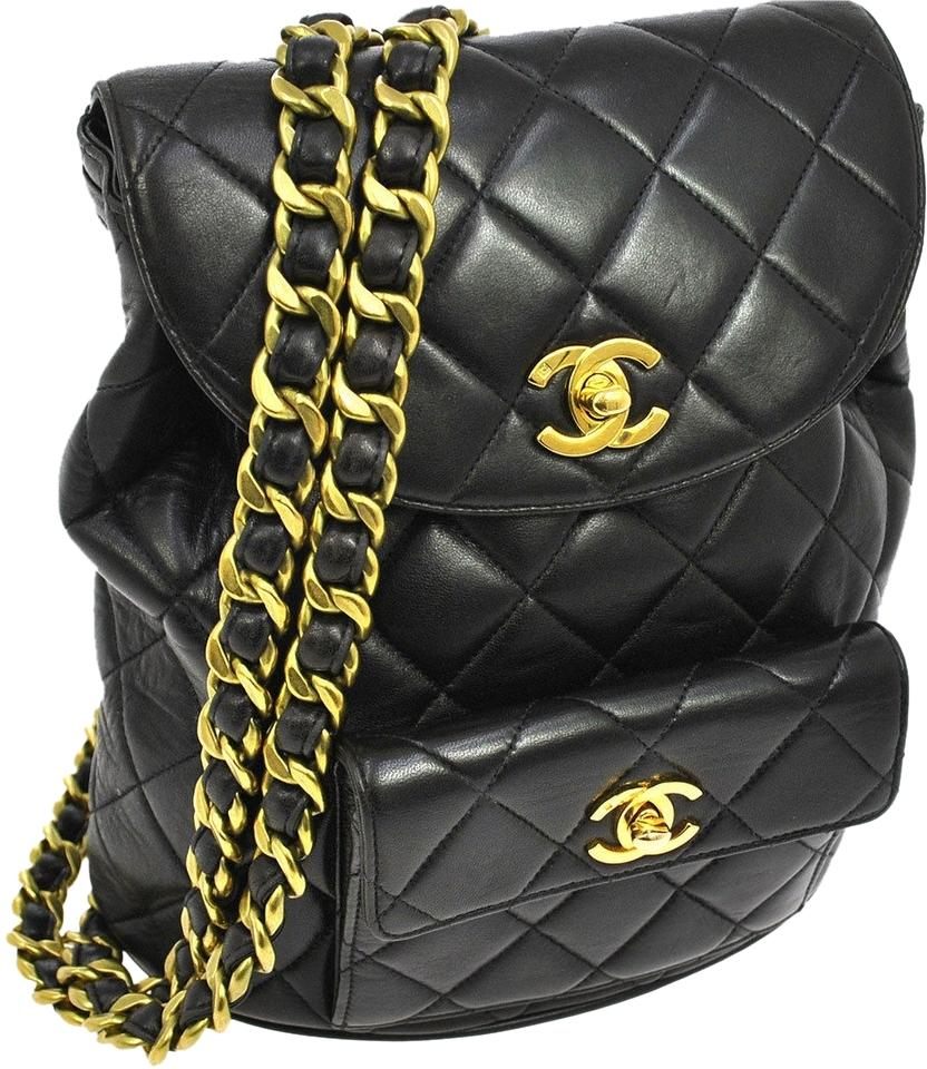 Chanel Backpack Quilted Cc Logos Black Gold Leather Vintage France ... 8dba1f1566ba7