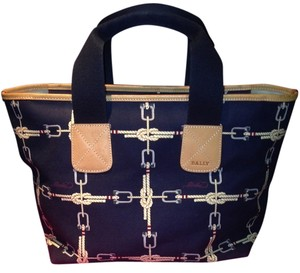 Bally Blue Leather Canvas Tote in Navy