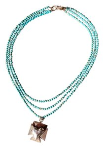 Nevada Artist 3 Strand Turquoise and Sterling Silver Heart Cross