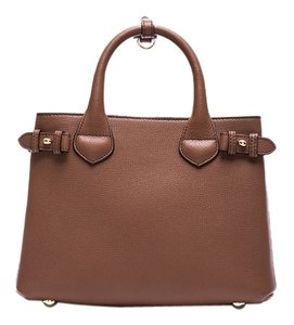 Burberry London Check Leather Strap Tote in Tan