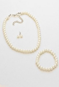 3-pc Pearl Set-necklace Bracelet And Earrings