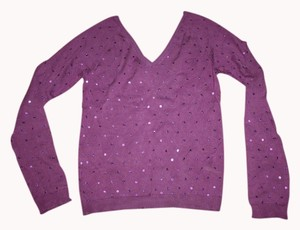 attention Sequin V-neck Disco Casual Party Plum Sweater
