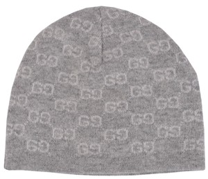 Gucci New Gucci Men's 387577 100% Cashmere Grey GG Guccissima Beanie Ski Winter Hat