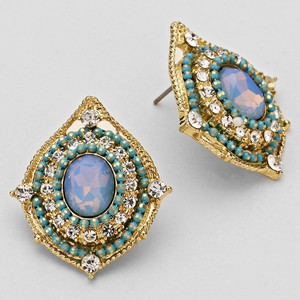 Light Blue Crystal Statement Earrings