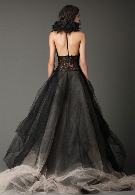 Item - Black and Beige Distressed Organza Chantilly Lace Josephine Formal Wedding Dress Size 10 (M)