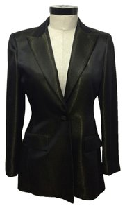 Oscar de la Renta Metallic Evening Jacket Top Black with Gold
