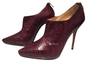 Jimmy Choo Burgundy Python Stiletto Gold Boots