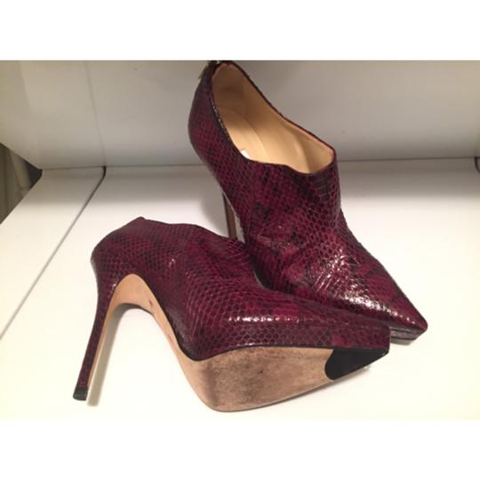 Jimmy Choo Burgundy Python Stiletto Gold Accents Sexy Classy Chic Statement Rare Boots