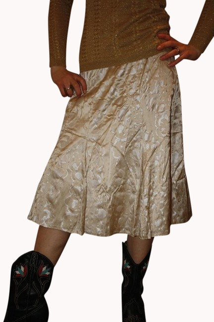 Chico's Silk A-line Floral Skirt Ivory/beige