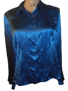 Oscar de la Renta Silk Top BLUE