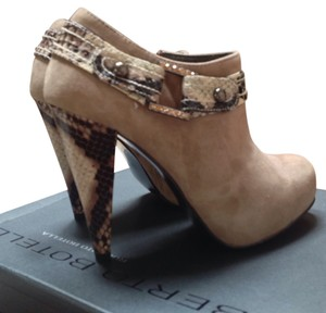 Roberto Botella Suede Snake Print Accent Rhinestone & Stud Accents Size 6 Sand Boots