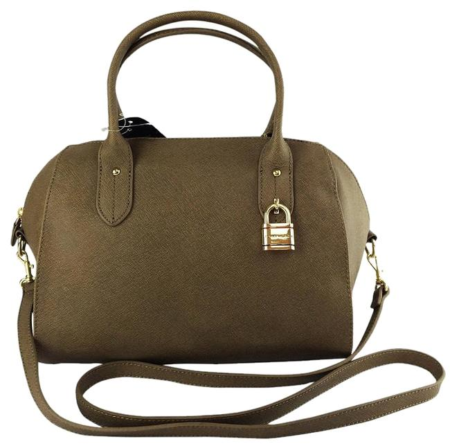 Tommy Hilfiger Heritage Lock Top Handle Khaki Green Pepper Saffiano Leather Satchel Tommy Hilfiger Heritage Lock Top Handle Khaki Green Pepper Saffiano Leather Satchel Image 1