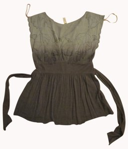 Free People Leaves Spring Summer Empire Waist T Shirt Light Green, Dark Grey