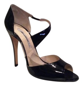 "Brian Atwood Leather Invisible ""illusion"" SALE! - Sz. 40 Black Patent w/ Illusion on Strap Pumps"