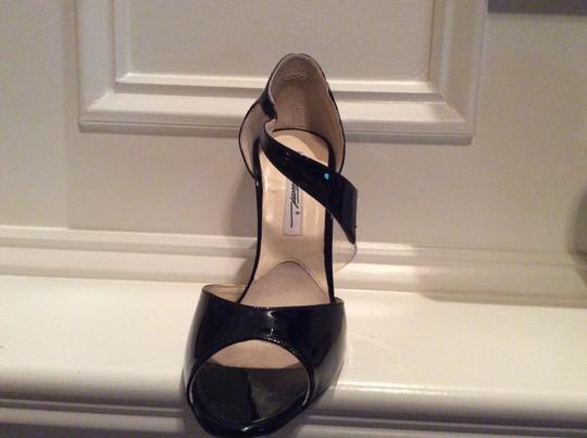 Brian Atwood Leather Invisible Accent SALE! - Sz. 40 Black Patent w/ Illusion on Strap Pumps