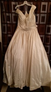 Allure Bridals Ivory/Silver Taffeta Gown Formal Wedding Dress Size 16 (XL, Plus 0x)