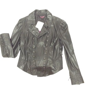Betsey Johnson Leather Coat Motorcycle Vintage Double Breasted black Leather Jacket