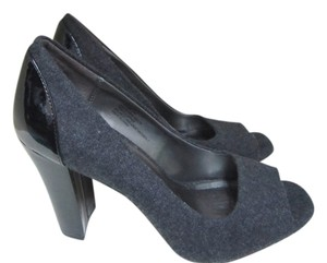 898b73c05a8 Andrew Geller Open Toe Faux Patent Chunky Heel Grey Pumps