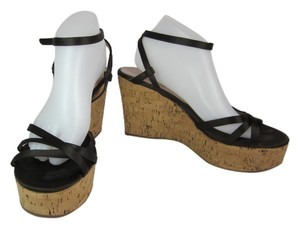 Prada Leather Logo Wedge Sandals