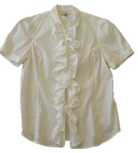 Neiman Marcus Ruffle Button Down Shirt Cream