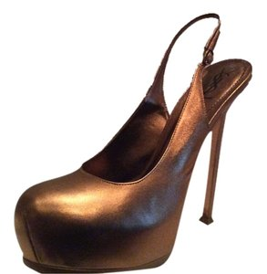 Saint Laurent Leather ON SALE!! (YSL) Sz. 41 - Tribtoo Metallic Gold Platform Slingback Pumps