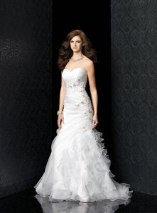 Ivory Organza/Lace 4402 Modern Wedding Dress Size 10 (M)