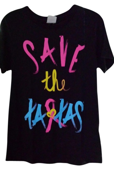 Save the Tatas Fight Girl Women Lady Anti - Cancer Punk Casual Long Short Awareness Pink Yellow Turquoise Donation Brush Stroke T Shirt Black with bright graphics