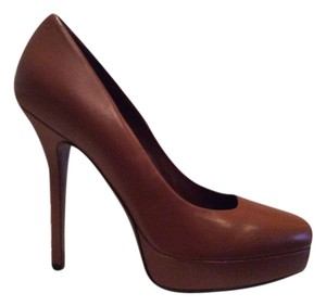 Gucci Leather Platform Square Toe - Sz. 40 Cuir (Chestnut Brown) Pumps