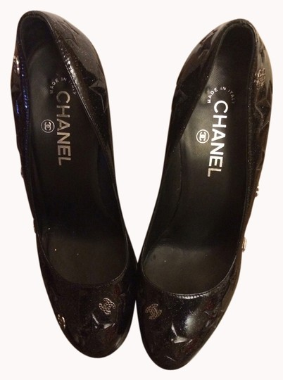 Chanel Glitter Black Patent Leather Pumps
