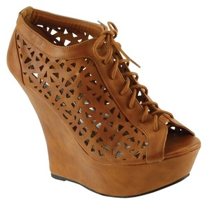 Red Circle Footwear Laser Cut Lace Up Cute Tan Wedges