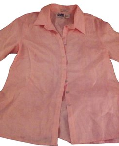Edward An Linen Embroidered Lace Lace Trim Top peach/Melon