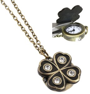 long antiqued clover watch locket necklace