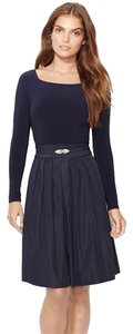Ralph Lauren Long Sleeve Fit-and-flare Brooch Dress