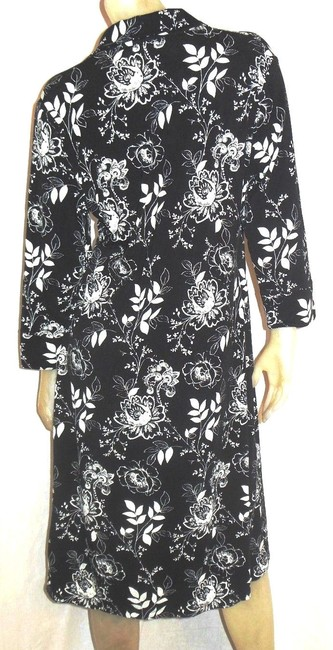 Nine & Co. short dress Black and White Floral Rayon Faux Wrap on Tradesy