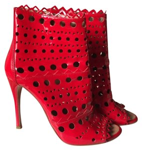 ALAÏA Stiletto Open Toe Patent Leather Limited Edition Red Boots