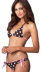 Lisa Lozano TNA by Lisa Lozano brown and white polka dot bikini