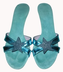 Marc Jacobs Teal Slides Heels Turquoise Sandals