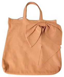 RED Valentino Leather Calfskin Light Peach Tote in Pale Pink