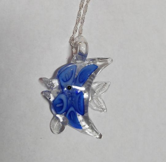 Other Blown Glass Fish Pendant Necklace Sterling Silver Chain A025