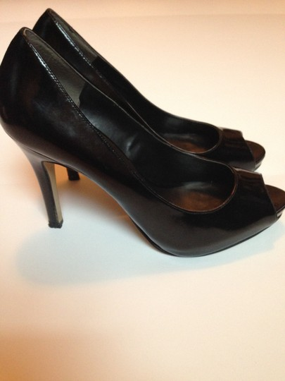 Nine West Peep Toe Hidden Platform Stiletto Black Pumps